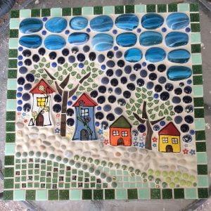 CERAMIC MOSAIC TILES Houses Daisies www.mosaicinspiration.com