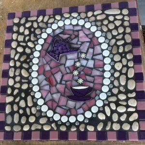 CERAMIC MOSAIC TILES Teapot Cup Mug Daisies www.mosaicinspiration.com