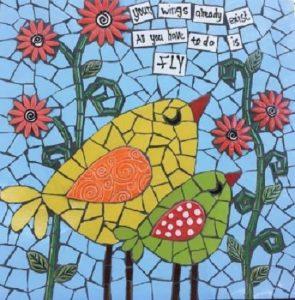 MOSAIC INSERTS Birds Flowers Words Stems Leaves Mosaic Tiles www.mosaicinspiration.com
