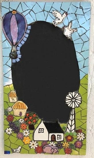 MOSAIC INSERTS Chalkboard birds windmill hut cape house flowers pig tree Mosaic Tiles www.mosaicinspiration.com