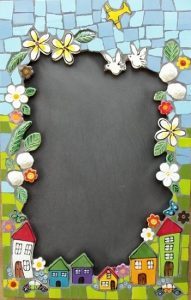 MOSAIC INSERTS Chalkboard flowers house Mosaic Tiles www.mosaicinspiration.com