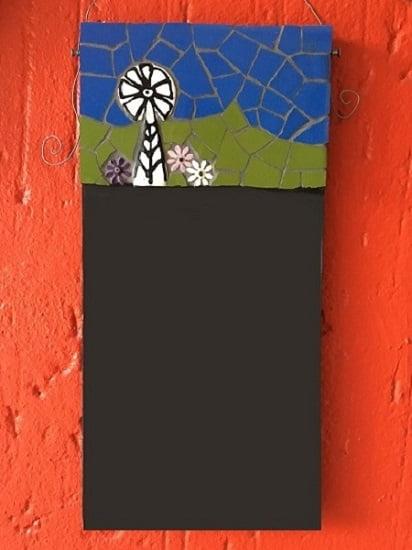 MOSAIC INSERTS Chalkboard windmill flowers Mosaic Tiles www.mosaicinspiration.com
