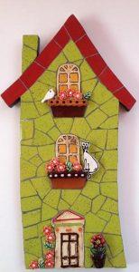 MOSAIC INSERTS Door Windows Potplant Flowers Leaves Cat Bird Mosaic Tiles www.mosaicinspiration.com