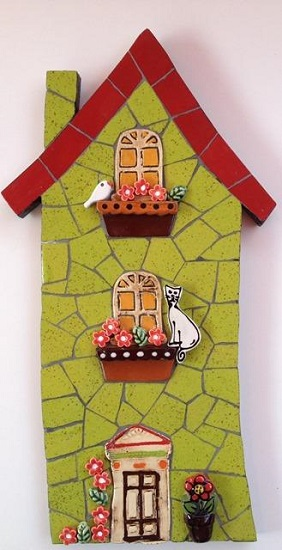 MOSAIC INSERTS Door Windows Potplant Flowers Leaves Cat Bird Mosaic Tiles www.mosaicinspiration.com