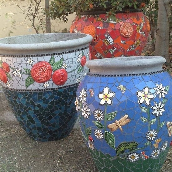 Ceramic ladybird Ceramic Leaf Ceramic Flowers Ceramic Leaves Ceramic Ladybug Stems Ceramic Dragonfly Mosaic Tiles www.mosaicinspiration.com
