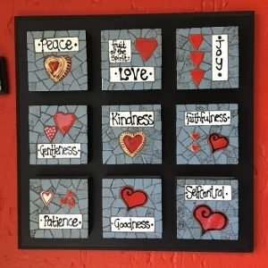 MOSAIC INSERTS Fruit of the Spirit words hearts Mosaic Tiles www.mosaicinspiration.com