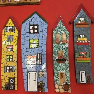 MOSAIC INSERTS Houses windows doors flowers potplant Mosaic Tiles www.mosaicinspiration.com