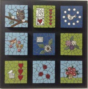 MOSAIC INSERTS Joy words birds leaves flowers owl Mosaic Tiles www.mosaicinspiration.com