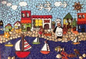 MOSAIC INSERTS Lake Yacht houses Mosaic Tiles www.mosaicinspiration.com