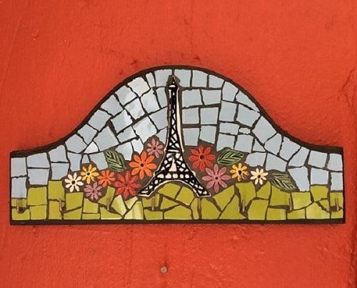 MOSAIC INSERTS Landscape Eiffel Tower ceramic flowers leaves Mosaic Tiles www.mosaicinspiration.com