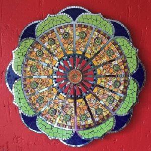 MOSAIC INSERTS Mandala swirls semicircle Mosaic Tiles www.mosaicinspiration.com
