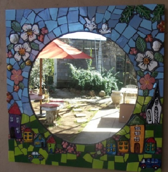 MOSAIC INSERTS Mirror Houses Cars flowers leaves birds Mosaic Tiles www.mosaicinspiration.com