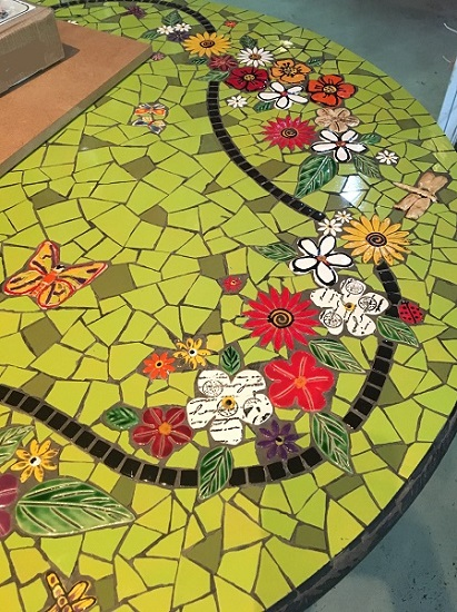 MOSAIC INSERTS Table Butterfly flowers leaves dragonfly Mosaic Tiles www.mosaicinspiration.com