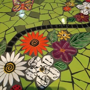 MOSAIC INSERTS Table butterfly flowers leaves Mosaic Tiles www.mosaicinspiration.com
