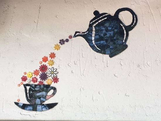 MOSAIC INSERTS Tea Pot Tea Cup Flowers Mosaic Tiles www.mosaicinspiration.com