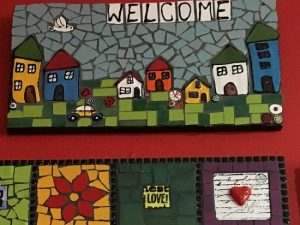 MOSAIC INSERTS Welcome houses car bird buttons Mosaic Tiles www.mosaicinspiration.com
