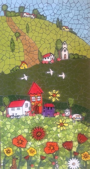 CERAMIC MOSAIC INSERTS Houses Flowers Leaves Dog Trees Birds Bicycle Caravan Mosaic Tiles www.mosaicinspiration.com