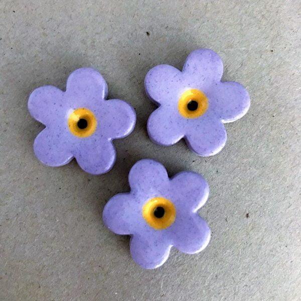 Lilac 23mm Ceramic Flowers Mosaic Inserts Ceramic Mosaic Tile www.mosaicinspiration.com