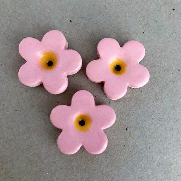 Pink 23mm Ceramic Flowers Mosaic Inserts Ceramic Mosaic Tile www.mosaicinspiration.com