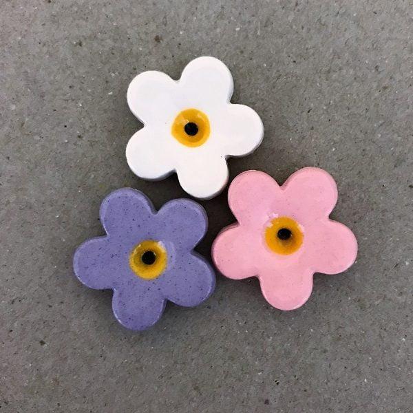Purple Pink White 23mm Ceramic Flowers Mosaic Inserts Ceramic Mosaic Tile www.mosaicinspiration.com