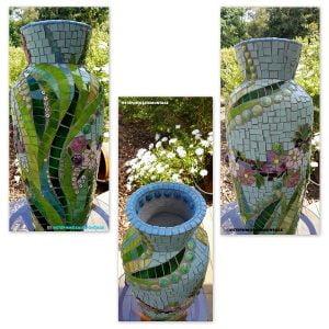 Ceramic Ladybird Ceramic Daisies Ceramic Flowers Ceramic Leaves Ceramic Mosaic Tile www.mosaicinspiration.com