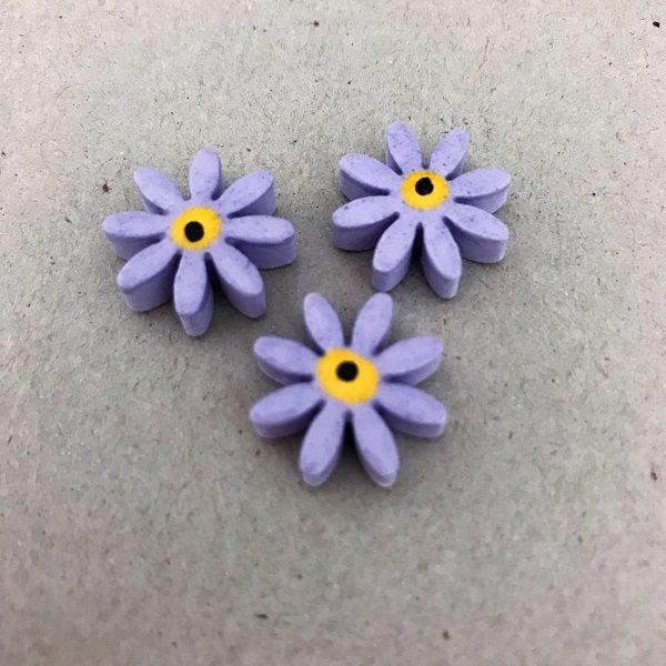 Lilac 17mm Ceramic Daisies Ceramic Flowers Ceramic Mosaic Tile www.mosaicinspiration.com