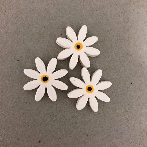 White 25mm Ceramic Daisies Ceramic Flowers Ceramic Mosaic Tile www.mosaicinspiration.com