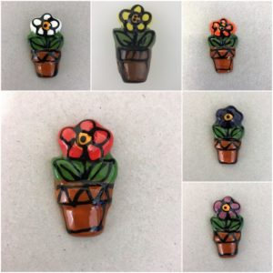 MOSAIC INSPIRATION Ceramic flower in Pot Ceramic Mosaic Tiles Mosaic Inserts www.mosaicinspiration.com