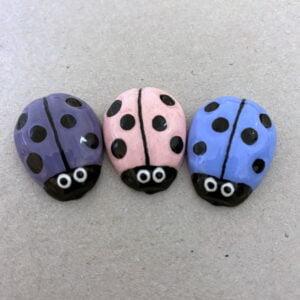 MOSAIC INSPIRATION Blue Pink Purple Ceramic Ladybirds Ceramic Ladybugs Ceramic Mosaic Insert www.mosaicinspiration.com