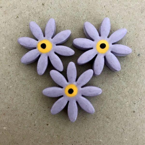 Lilac 25mm Ceramic Daisies Ceramic Flowers Ceramic Mosaic Tile www.mosaicinspiration.com