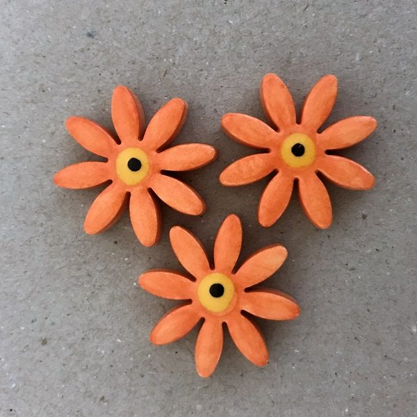 Orange 25mm Ceramic Daisies Ceramic Flowers Ceramic Mosaic Tile www.mosaicinspiration.com