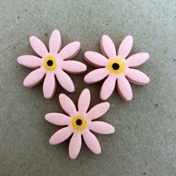 Pink 25mm Ceramic Daisies Ceramic Flowers Ceramic Mosaic Tile www.mosaicinspiration.com