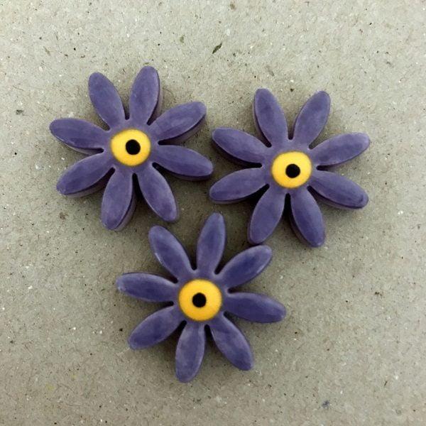 Purple 25mm Ceramic Daisies Ceramic Flowers Ceramic Mosaic Tile www.mosaicinspiration.com