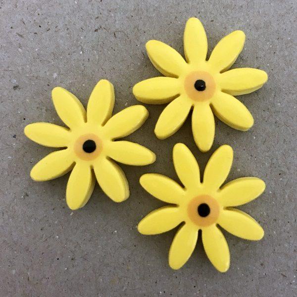 Yellow 25mm Ceramic Daisies Ceramic Flowers Ceramic Mosaic Tile www.mosaicinspiration.com