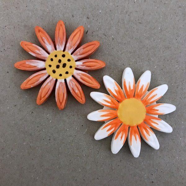 40mm Ceramic Daisy Ceramic Flower Ceramic Mosaic Tile www.mosaicinspiration.com