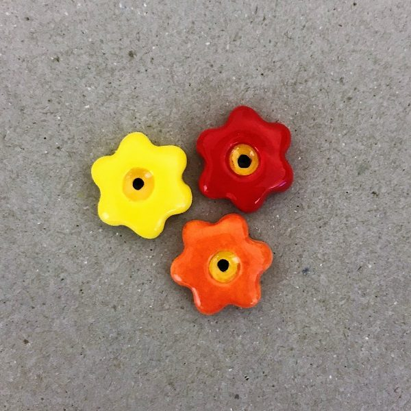 Red Orange Yellow 17mm Ceramic Flowers Mosaic Inserts Ceramic Mosaic Tile www.mosaicinspiration.com