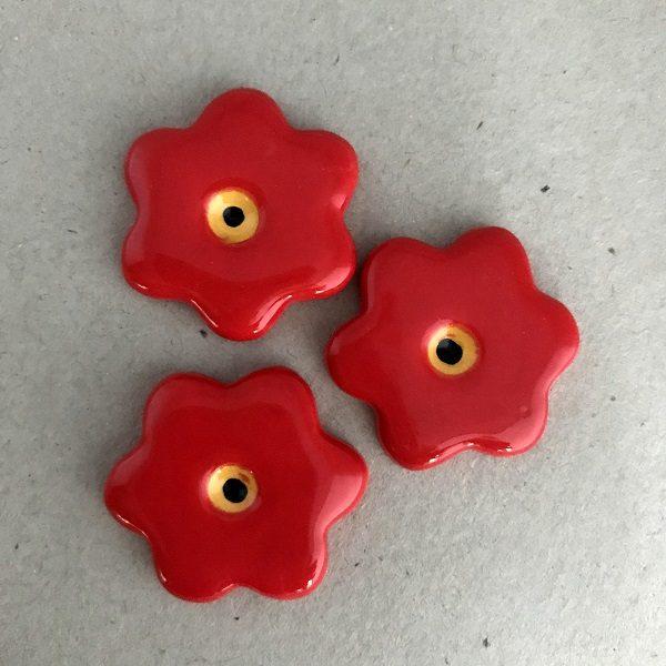 Red 28mm Ceramic Flowers Ceramic Mosaic Tiles www.mosaicinspiration.com