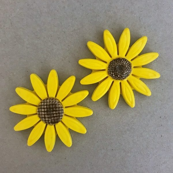 MOSAIC INSPIRATION 40mm Yellow Ceramic Sunflower Ceramic Flower Ceramic Inserts Mosaic Tile www.mosaicinspiration.com
