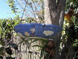 MOSAIC INSPIRATION - Ceramic Mosaic Inserts www.mosaicinspiration.com - Sue's Birdbath Ceramic bird ceramic Flower