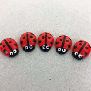 Red Ceramic Ladybirds Ceramic Ladybugs Ceramic Mosaic Tile Mosaic Inserts www.mosaicinspiration.com