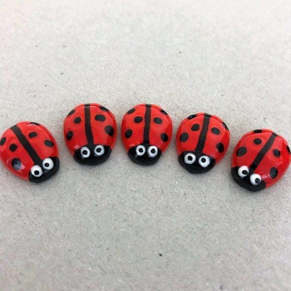 Red Ceramic Ladybirds Ceramic Ladybugs Ceramic Mosaic Tile Mosaic Inserts www.mosaicinspiration.com
