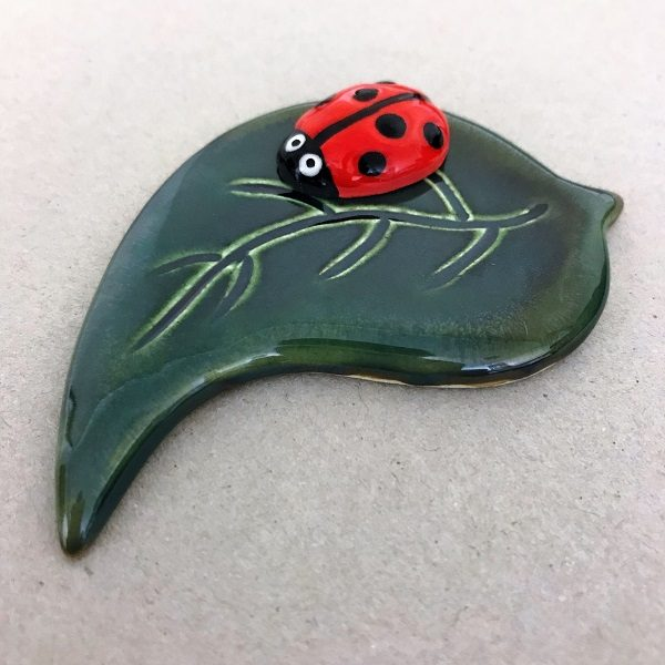 Ceramic Leaf with Ladybird Ceramic Mosaic Tile Mosaic Inserts www.mosaicinspiration.com