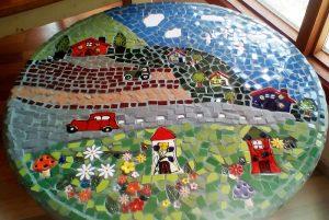 Ceramic Mosaic Inserts - Sandras Table car house mushroom flowers daisy leaf birds tree ladybird tractor www.mosaicinspiration.com.au