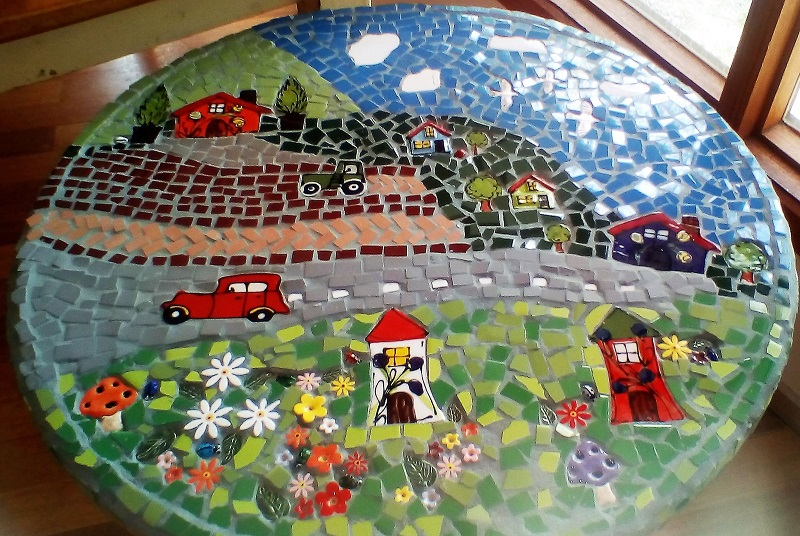 Ceramic Mosaic Inserts - Sandras Table car house mushroom flowers daisy leaf birds tree ladybird tractor www.mosaicinspiration.com.au