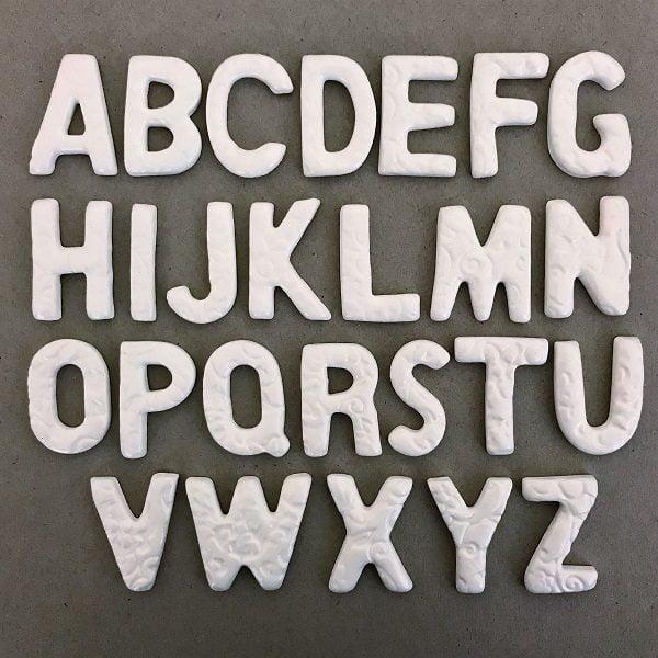 35mm Ceramic Letters A to Z Ceramic Alphabet Mosaic Inserts Mosaic Tiles www.mosaicinspiration.com