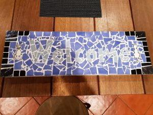 Rachels Welcome Sign Ceramic Cat Mosaic Inserts Mosaic Tiles MOSAIC INSPIRATION www.mosaicinspiration.com