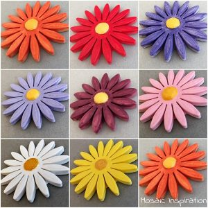 65mm Ceramic Daisy Ceramic Flower Mosaic Inserts Ceramic Mosaic Tile www.mosaicinspiration.com