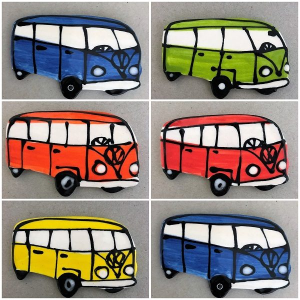 Ceramic VW Kombi Side View Ceramic Car Ceramic Mosaic Inserts Mosaic Tile www.mosaicinspiration.com