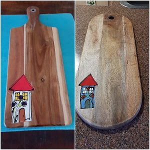 MOSAIC INSPIRATION - Katherine's Chopping Boards with Ceramic Houses recessed - www.mosaicinspiration