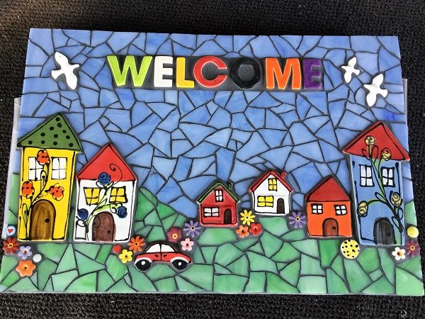 MOSAIC INSPIRATION - Mosaic Inserts - Judys Welcome sign - houses birds car flowers www.mosaicinspiration.com